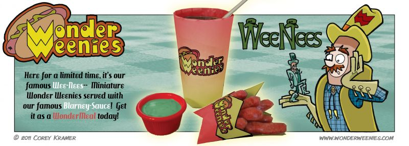 Wonder Weenies :: I'm not Irish, so far as I know, but when you've a fake fast food joint with an Irish Cowboy Hotdog as a spokesperson, you had better have a seasonal Irish treat. Personally, I'd prefer a Shamrock Shake- but I hear that's taken.