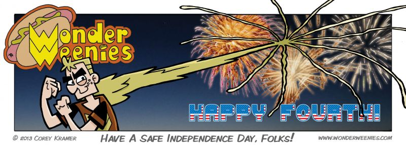 Wonder Weenies :: Be safe as you fire off them fireworks, everyone! Remember- only Frank's hand will grow back!